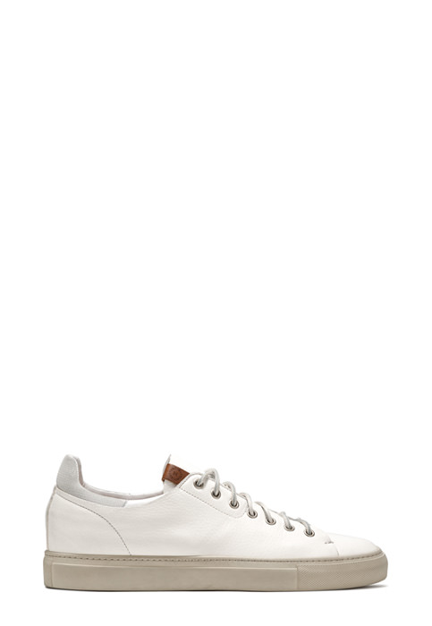 BUTTERO: TANINO SNEAKERS IN USED EFFECT WHITE LEATHER