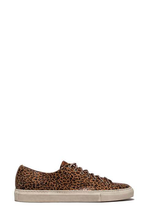BUTTERO: NATURAL BROWN LEATHER TANINO LOW TOP SNEAKERS WITH LEOPARD PRINT