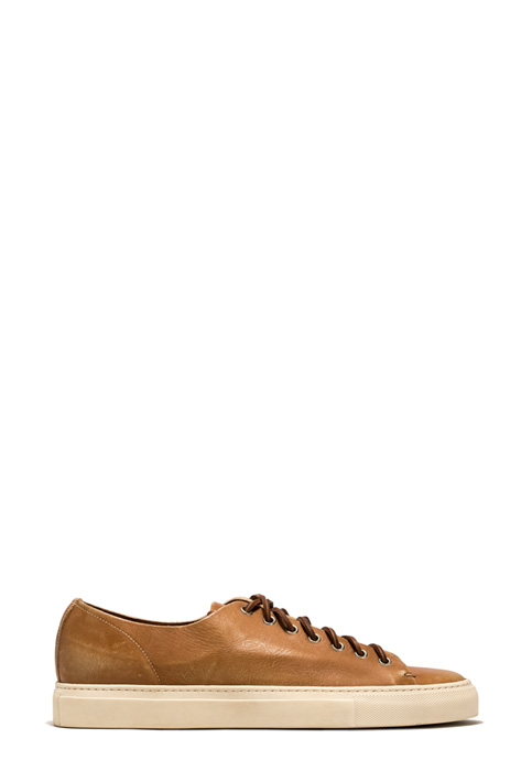 BUTTERO: NATURAL BROWN USED EFFECT LEATHER TANINO LOW TOP SNEAKERS (B8220RUB-UG1/05)