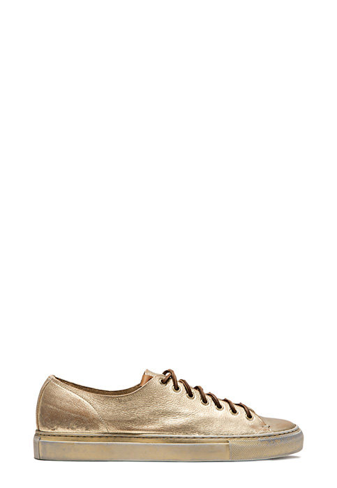 BUTTERO: PLATINUM LAMINATED LEATHER TANINO LOW TOP SNEAKERS