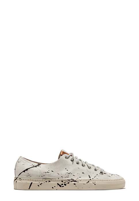BUTTERO: WHITE SUEDE TANINO LOW TOP SNEAKERS WITH PAINT SPLASHES