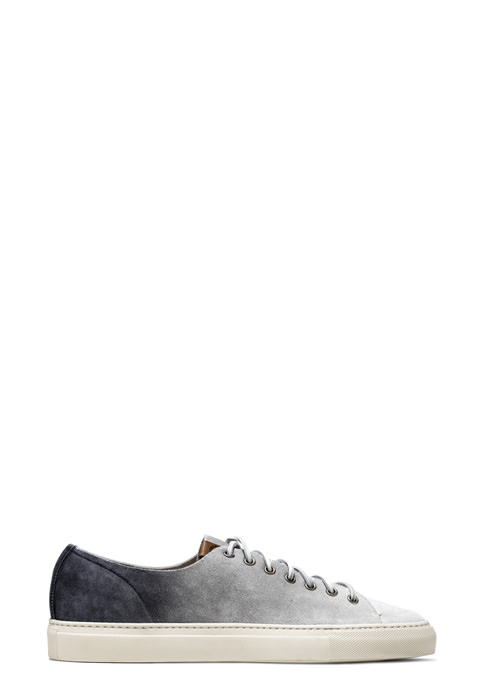 BUTTERO: WHITE/GRAY/BLACK DEGRADE' SUEDE TANINO SNEAKERS
