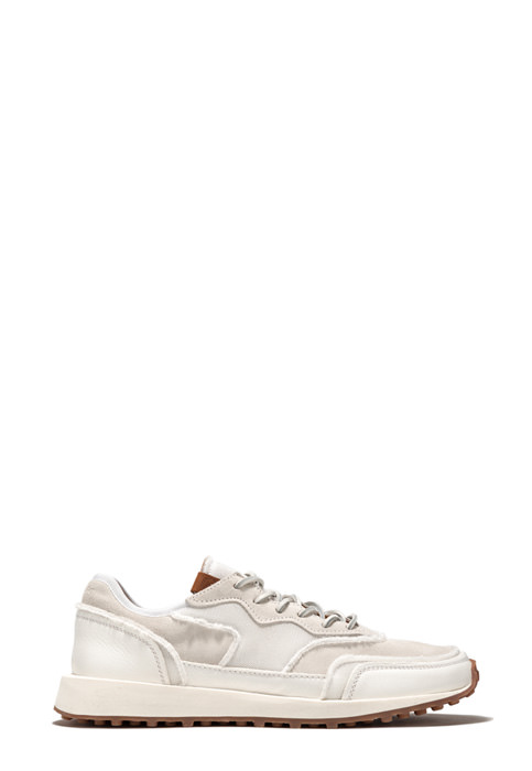 BUTTERO: VENTURA SNEAKERS IN WHITE NYLON MESH AND SUEDE (B8890VARB-UG1/B)