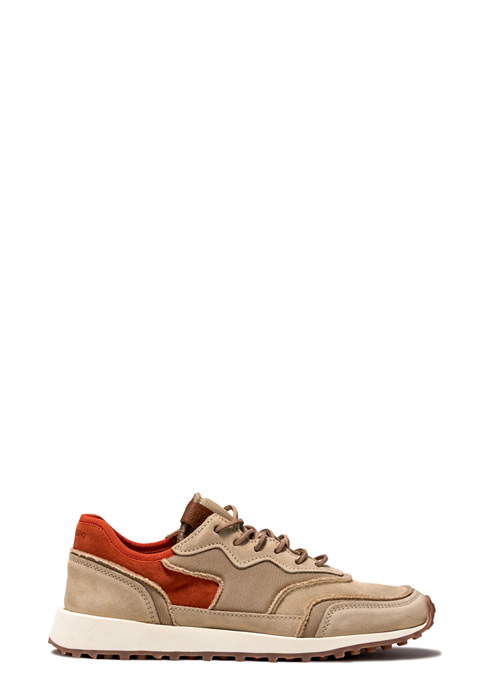 BUTTERO: VENTURA SNEAKERS IN CAPPUCCINO NYLON MESH AND SUEDE  (B8891VARB-UG1/B)