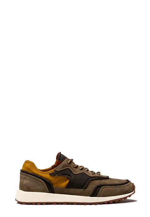 BUTTERO: VENTURA SNEAKERS IN LEAD GRAY NYLON MESH AND SUEDE (B8891VARA-UG1/A)