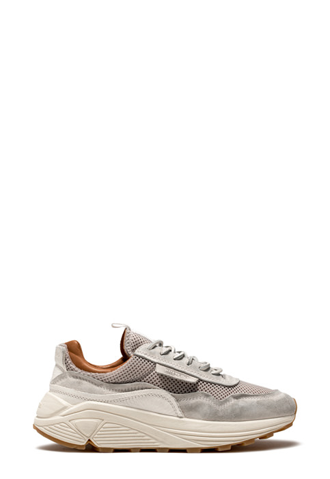 BUTTERO: VINCI SNEAKERS IN WHITE USED EFFECT NYLON MESH AND SUEDE