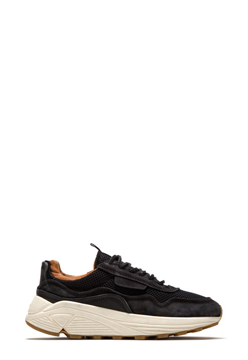BUTTERO: VINCI SNEAKERS IN BLACK USED EFFECT NYLON MESH AND SUEDE  (B9011VARB-DG1/B)