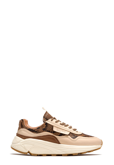 BUTTERO: VINCI SNEAKERS IN CREAM WHITE PYTHON PRINT LEATHER (B9010VARA-DG1/A)