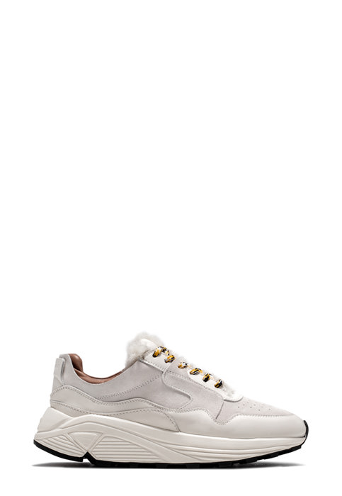 BUTTERO: WHITE LEATHER AND SUEDE VINCI SNEAKERS (B8664VARA-DG1/A)