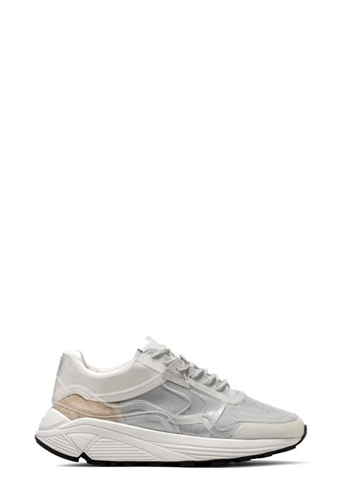 BUTTERO: VINCI SNEAKER IN WHITE LINING COATED IN PVC (B8205VARC-UG1/C)