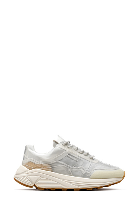 BUTTERO: VINCI SNEAKER IN WHITE LINING COATED IN PVC (B8303VARB-DG1/B)