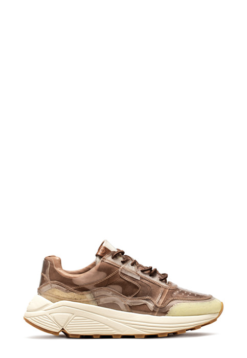 BUTTERO: VINCI SNEAKER IN NATURAL BROWN LINING COATED IN PVC (B8303VARA-DG1/A)