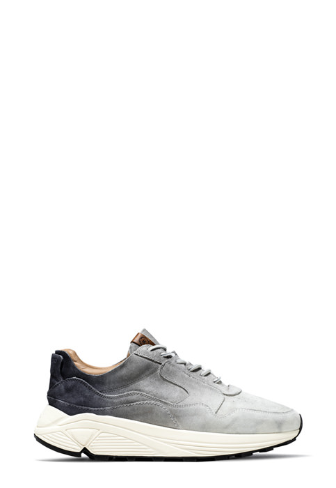 BUTTERO: WHITE/GRAY/BLACK DEGRADE' SUEDE VINCI SNEAKERS