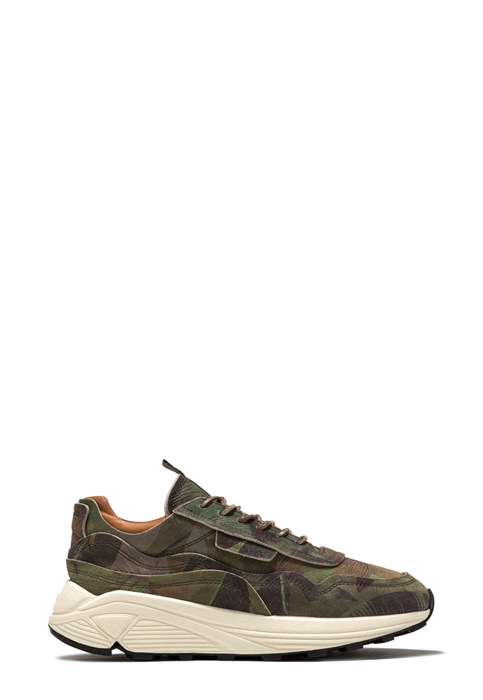 BUTTERO: VINCI SNEAKERS IN HUNTER GREEN SUEDE WITH FLORAL PATTERN (B8861GORHT-UG1/10)