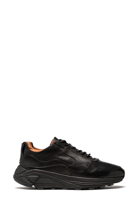 BUTTERO: BLACK COWHIDE VINCI SNEAKERS (B7350MAIN-UG1/01)