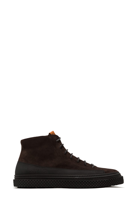 BUTTERO: BRIGATA HIGH TOP SNEAKERS IN PEPPER BROWN SUEDE (B9101GORH-UG1/84)