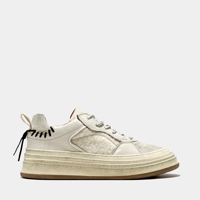 BUTTERO: CIRCOLO SNEAKERS IN LEATHER AND SHEARLING COLOR CHALK (B9614VARA-DG1/A)