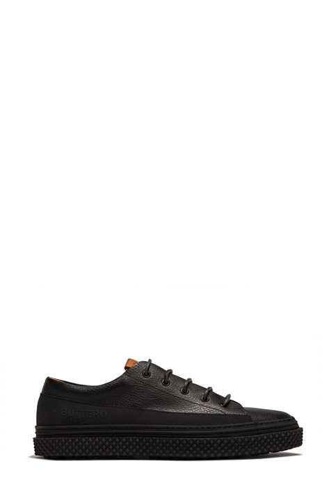 BUTTERO: BRIGATA SNEAKERS IN BLACK LEATHER (B9100MAINE-UG1/01)