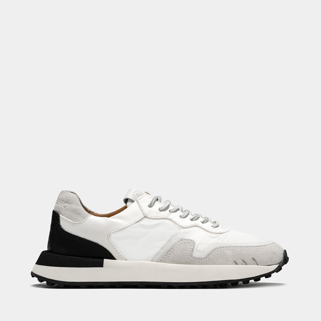 BUTTERO: FUTURA SNEAKERS IN? WHITE MIXED LEATHER AND NYLON (B9450VARC-DG1/C)