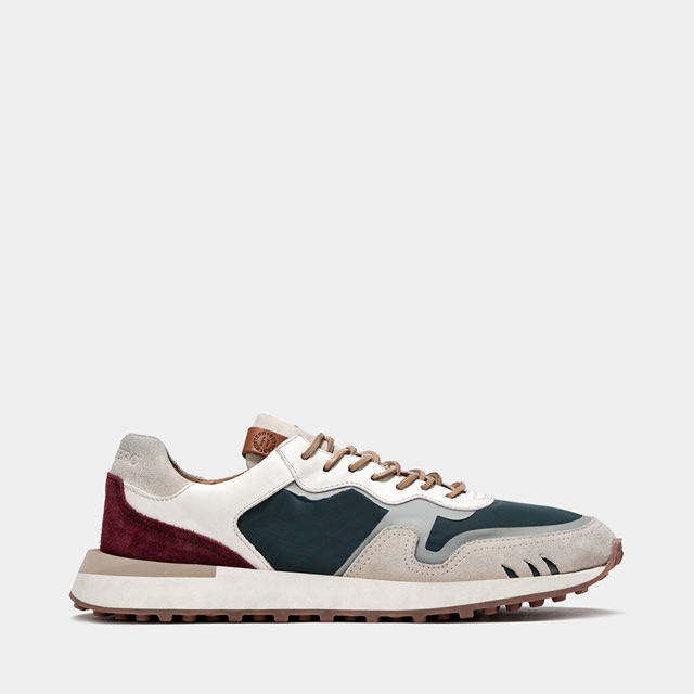 BUTTERO: FUTURA SNEAKERS IN PETROL BLUE MIXED LEATHER AND NYLON (B9352VARC-UG1/C)