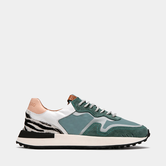 BUTTERO: FUTURA SNEAKERS IN TEAL NYLON AND MIXED LEATHER  (B9450VARA-DG1/A)