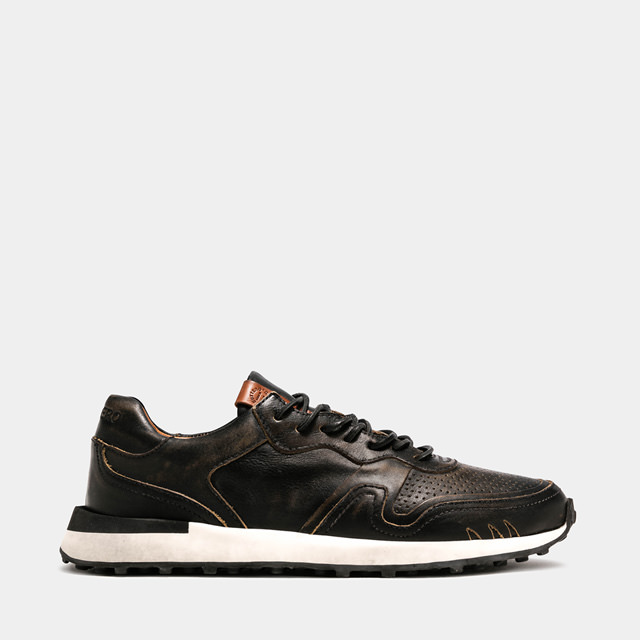 BUTTERO: FUTURA SNEAKERS IN BLACK LEATHER (B9351RUBE-UG1/01)