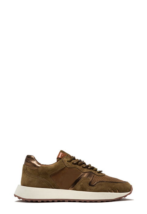 BUTTERO: FUTURA SNEAKERS IN SUEDE AND PLANTATION CRACKLE EFFECT LEATHER  (B9250VARB-DG1/B)