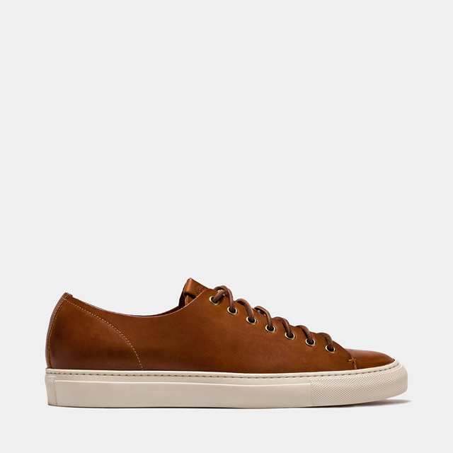 BUTTERO: NATURAL BROWN LEATHER TANINO LOW SNEAKERS (B4006TOSCH-UG1/05)