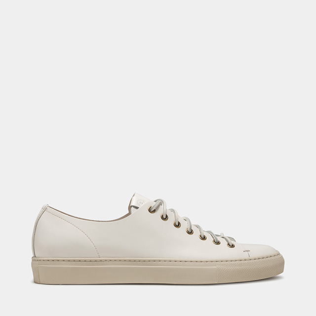BUTTERO: TANINO LEATHER LOW SNEAKERS COLOR WHITE