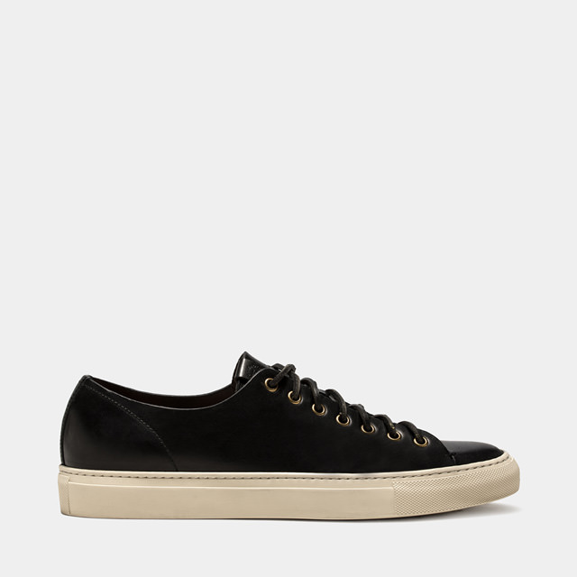 BUTTERO: BLACK LEATHER TANINO LOW SNEAKERS (B4006TOSCH-UG1/01)