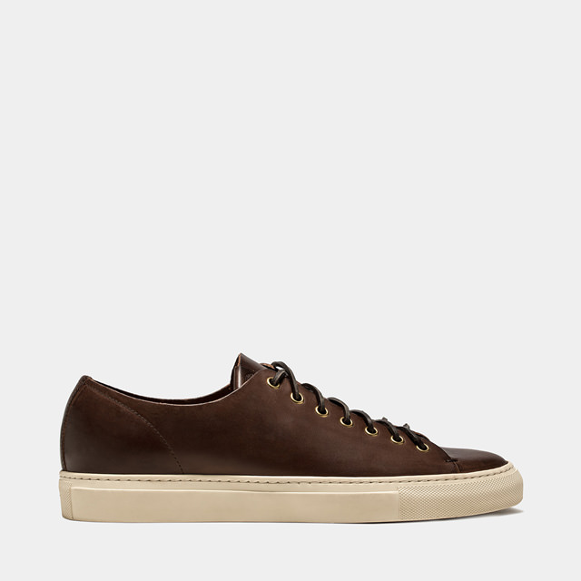 BUTTERO: DARK BROWN LEATHER TANINO LOW SNEAKERS (B4006TOSCH-UG1/04)