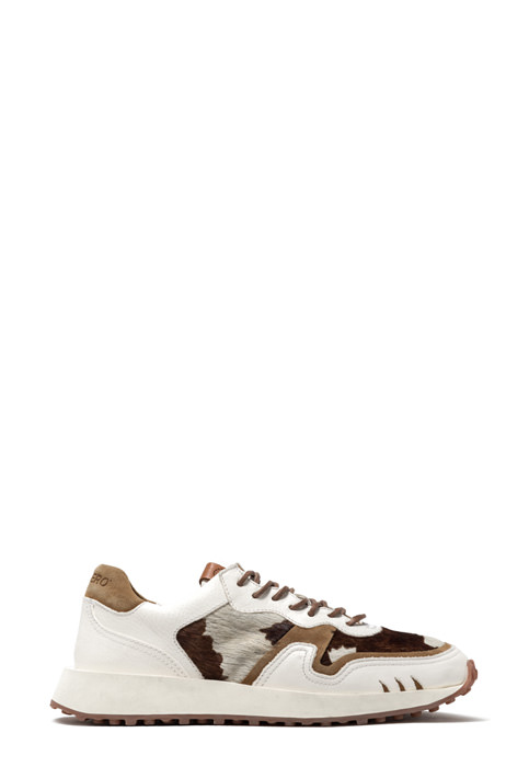 BUTTERO: VENTURA SNEAKERS IN WHITE PONY SKIN AND LEATHER (B9250VARA-DG1/A)