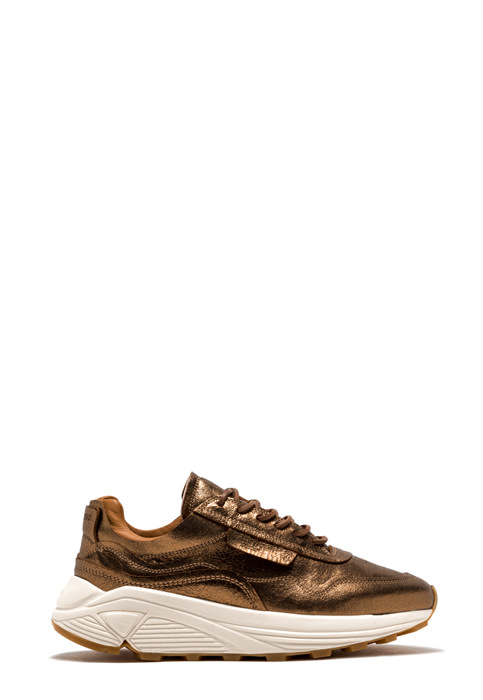 BUTTERO: VINCI SNEAKERS IN GOLD TONE LAMINATED LEATHER WITH  CRAQUELE EFFECT (B9260CRACK-DG1/10)
