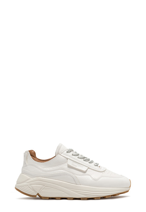 BUTTERO: VINCI SNEAKERS IN WHITE HAMMERED LEATHER (B9260MAB-DG1/03)