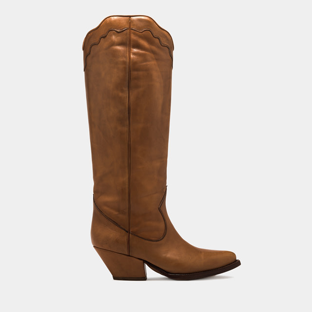 BUTTERO: ELISE HIGH TOP BOOTS IN NATURAL BROWN LEATHER (B8105ETRU-DC1/05)