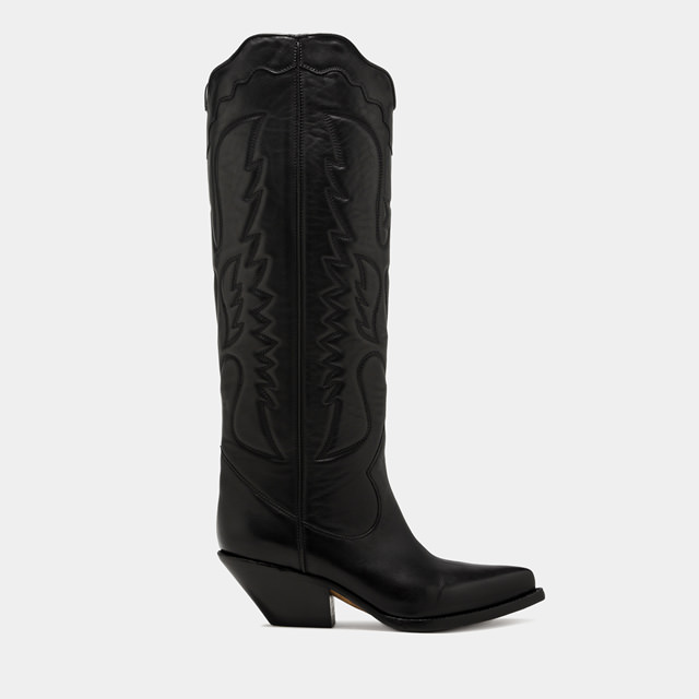 BUTTERO: ELISE HIGH TOP BOOTS IN BLACK LEATHER