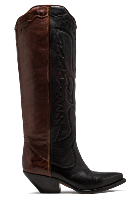 BUTTERO: ELISE HIGH TOP BOOTS IN BLACK AND NATURAL BROWN LEATHER (B8600VARC-DC1/C)