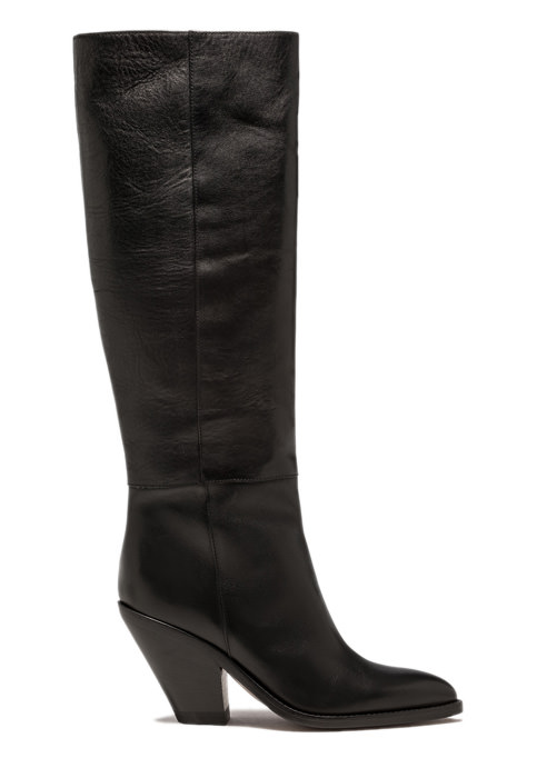 BUTTERO: JANE HIGH TOP BOOTS IN BLACK LEATHER (B9211ODEM-DC1/01)