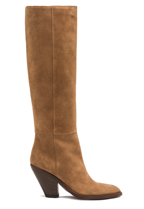 BUTTERO: JANE HIGH HEEL BOOTS IN COPPER BROWN SUEDE (B9211LIG-DC1/13)