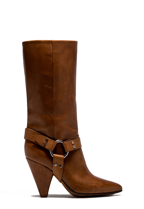 BUTTERO: NATURAL BROWN LEATHER ROSE HIGH TOP BOOTS (B8124ETRU-DG1/05)