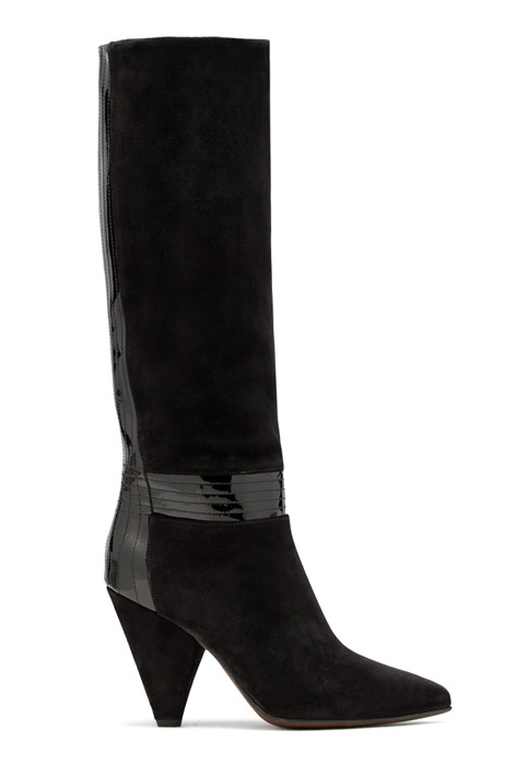 BUTTERO: BLACK SUEDE ROSE HIGH TOP BOOTS WITH PATENT LEATHER INSERTS (B8630VARA-DG1/A)