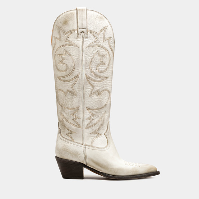 BUTTERO: ANNIE BOOTS IN WHITE LEATHER  (B9400VARA-DC1/A)