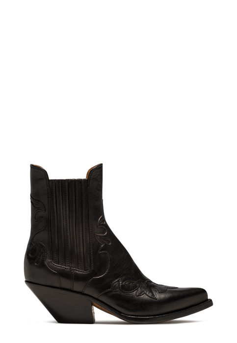 BUTTERO: ELISE LOW TOP BOOTS IN BLACK LEATHER (B8608ODEM-DC1/01)