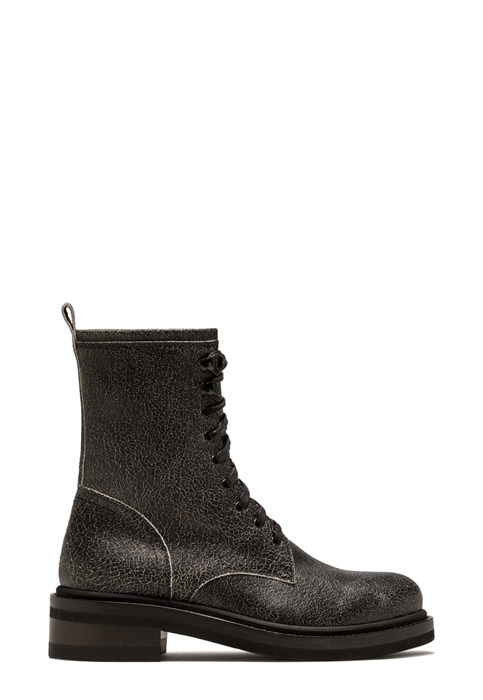 BUTTERO: LOW COMBAT BOOT IN BLACK CRAQUELE LEATHER (B9240CRACK-DG1/01)