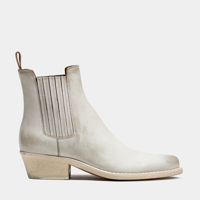BUTTERO: DALTON BOOTS IN WHITE LEATHER (B9410RUB-DC1/02)