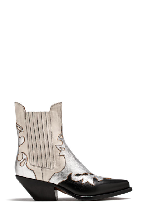 BUTTERO: WHITE ELISE ANKLE BOOTS IN INLAID LEATHER (B8608VARA-DC1/A)