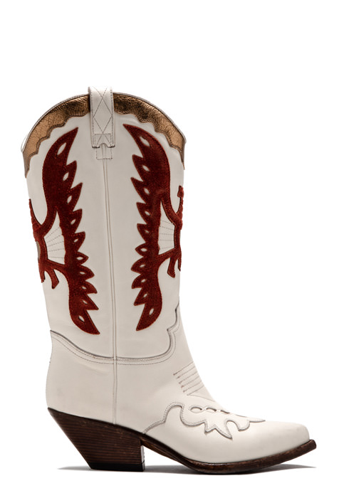 BUTTERO: WHITE ELISE DURANGO BOOTS IN INLAID LEATHER (B8607VARB-DC1/B)