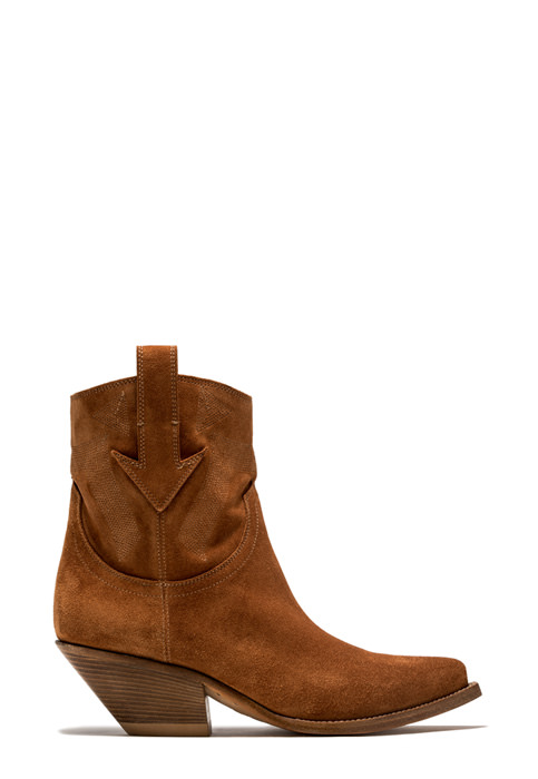 BUTTERO: STIVALE ELISE MID TEXANO IN SUEDE COGNAC