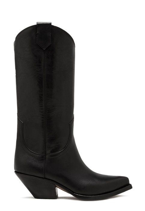 BUTTERO: ELISE HIGH HEEL DURANGO BOOTS IN BLACK LEATHER (B9205OILBR-DC1/01)