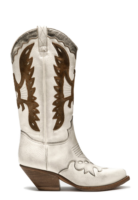 BUTTERO: HIGH HEEL ELISE DURANGO BOOTS IN USED-EFFECT CREAM WHITE LEATHER WITH INLAYS (B8607VARD-DC1/D)